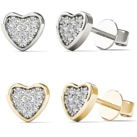 AALILLY 10k White Gold Diamond Accent Heart Earrings (H-I, I2)