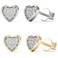 AALILLY 10k Gold Children's 3/5ct TDW Diamond Heart Earrings (H-I, I2)