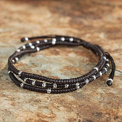 Handcrafted Silver 'Surreal Brown' Bracelet (Thailand)