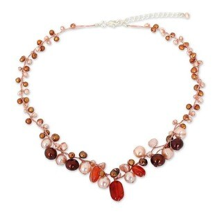 """Handmade Sterling Silver Carnelian and Pearl Cinnamon Rose Beaded Style Necklace (3-7 mm) (Thailand) - 7'6"""" x 9'6"""""""