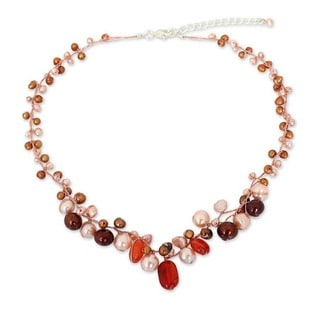 Handcrafted Sterling Silver Carnelian and Pearl Cinnamon Rose Beaded Style Necklace (3-7 mm) (Thailand)