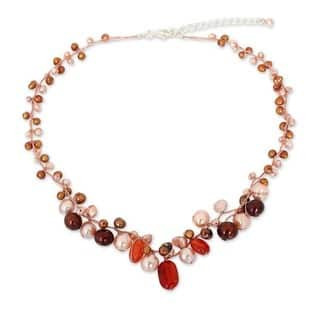 Handmade Sterling Silver Carnelian and Pearl Cinnamon Rose Beaded Style Necklace (3-7 mm) (Thailand)|https://ak1.ostkcdn.com/images/products/8022374/P15384820.jpg?impolicy=medium