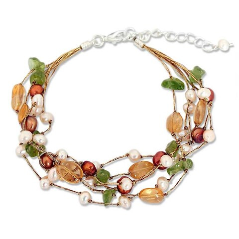Handmade Multi-gemstone Pearl 'Awakening' Bracelet (4-7.5 mm) (Thailand)