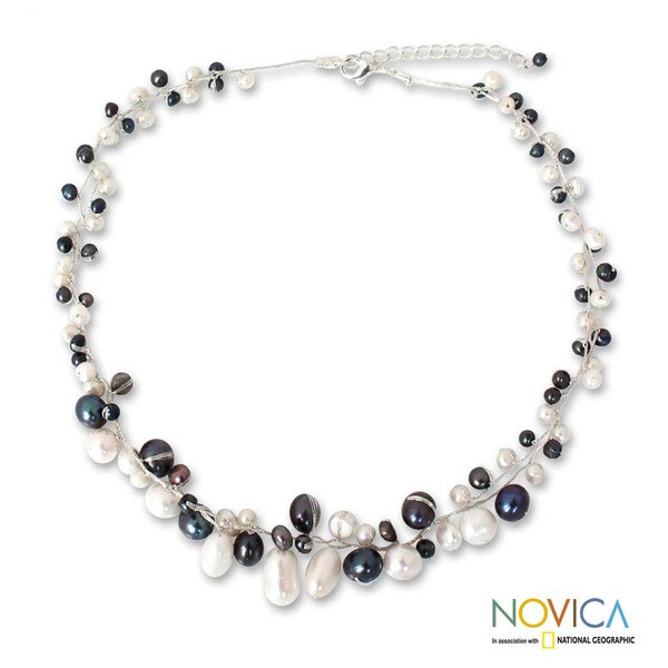 Handmade Pearl 'Monochrome Harmony' Necklace (3-8 mm) (Thailand)