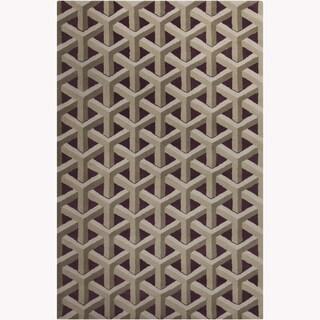 Allie Handmade Geometric Purple Wool Rug (5' x 7'6)