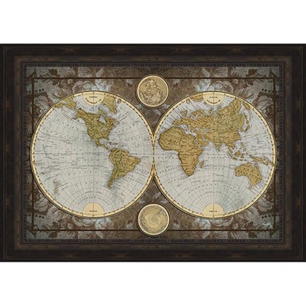 Henricus Hondius u0026#39;Map Of The Worldu0026#39; Framed Art Print with Gel Coated ...