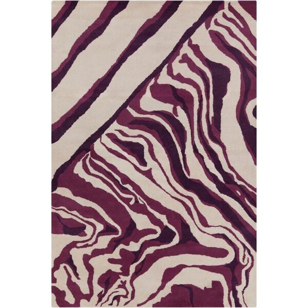 Hand-tufted Allie Abstract Cream/ Purple Wool Rug (5' x 7'6)
