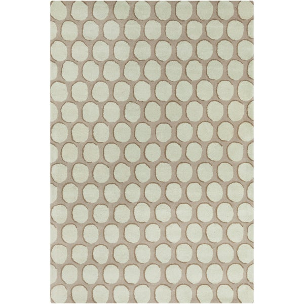 Hand-tufted Allie Geometric Blue/ Taupe Wool Rug - 5' x 7'6