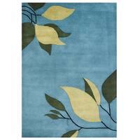 Alliyah Handmade Alaskan Blue Blended Wool Rug - 9' x 12'