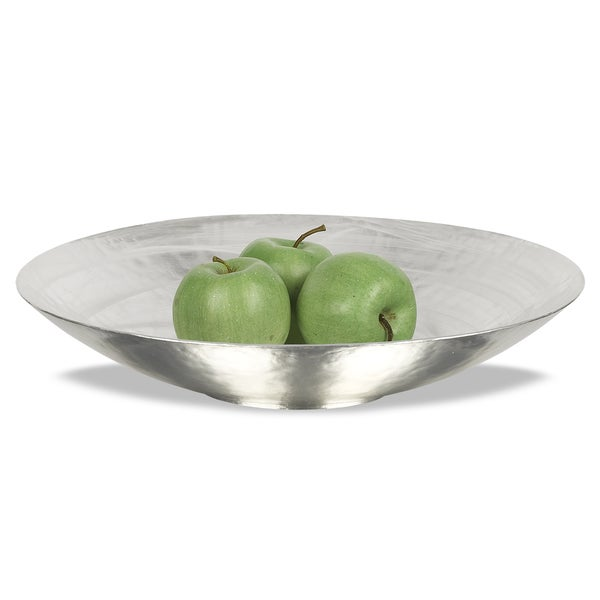 Silver-plated White Alabaster Glass Serving Bowl