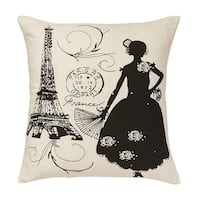 French Lady Cotton 20 x 20-inch Decorative Pillow