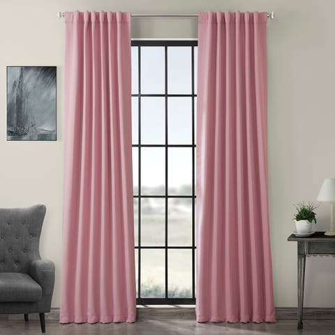 Exclusive Fabrics Precious Pink Blackout Thermal Curtain Panel Pair