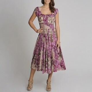 Grace Elements Women's Floral Patchwork Cotton Dress