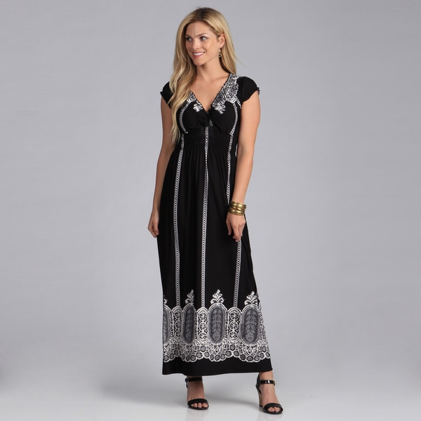 Just Funky Women's Printed V-Neck Maxi Dress