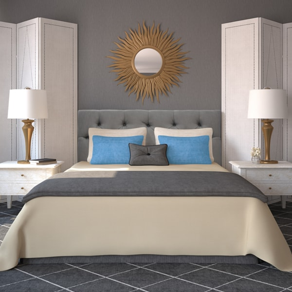Shop Klein Light Grey Diamond-tufted Upholstered Headboard