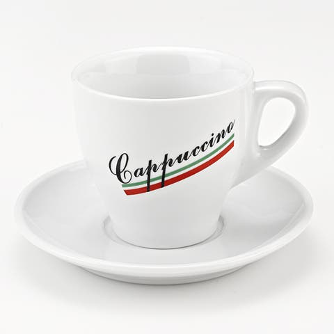 Italian Cappuccino 8-piece Porcelain Mug and Saucer Set