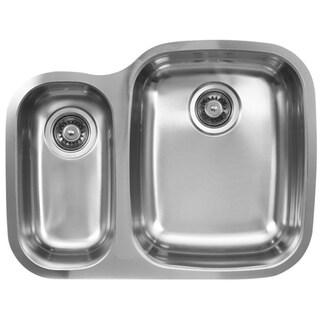 Ukinox D376.70.30.10L 70/30 Double Basin Stainless Steel Undermount Kitchen Sink