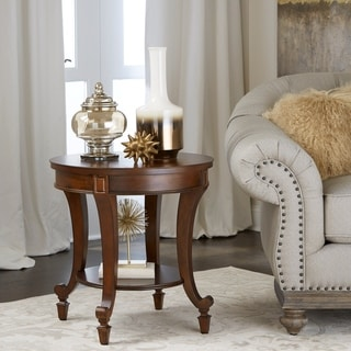 Aidan Cinnamon Round Wood End Table