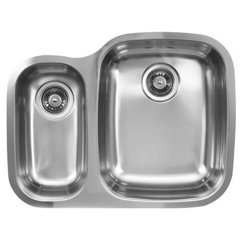 Ukinox D376.70.30.10R 70/30 Double Basin Stainless Steel Undermount Kitchen Sink