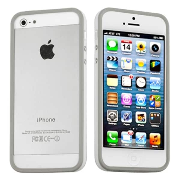 INSTEN Light Grey MyBumper Phone Case Cover for Apple iPhone 5