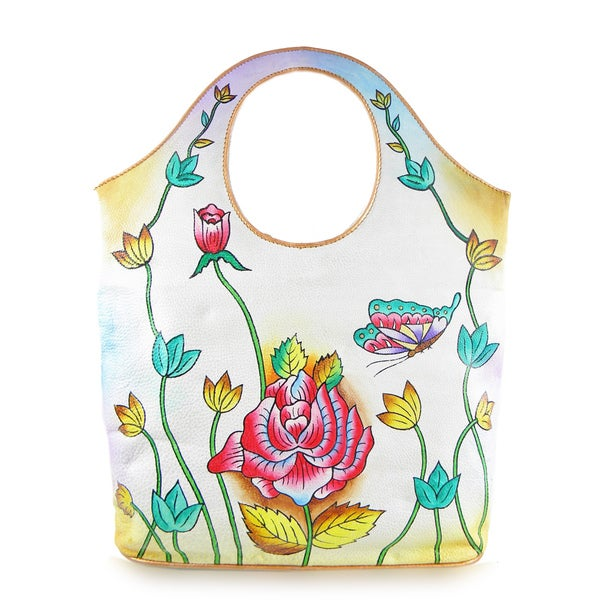 Hand painted Cow Leather Tote Handbag (India)