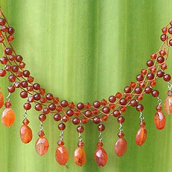 Handcrafted Stainless Steel 'Labyrinth' Carnelian Necklace (Thailand)