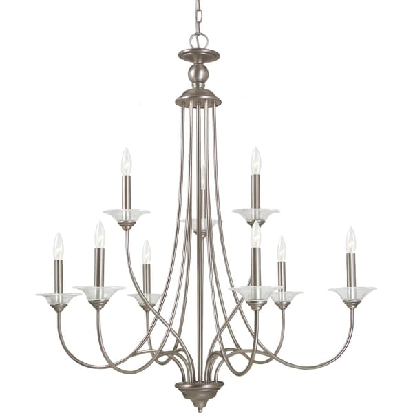 shop lemont 9 light antique brushed nickel candelabra 87980
