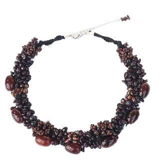 Handmade Garnet and Agate 'Gush' Necklace (Thailand)|https://ak1.ostkcdn.com/images/products/8024735/P15386788.jpg?impolicy=medium