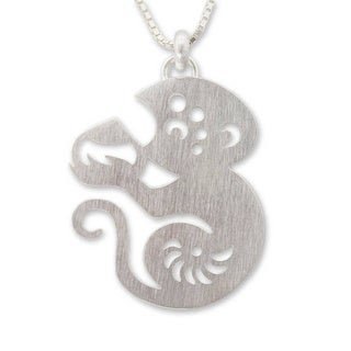 Handmade Sterling Silver 'Chinese Zodiac Monkey' Necklace (Thailand)
