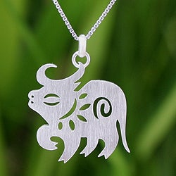 Sterling Silver 'Chinese Zodiac Ox' Necklace (Thailand)
