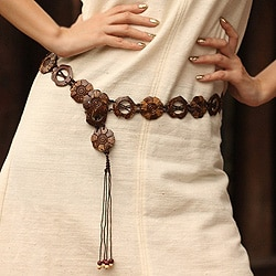 Handmade Coconut Shell 'Thai Forest' Belt (Thailand)