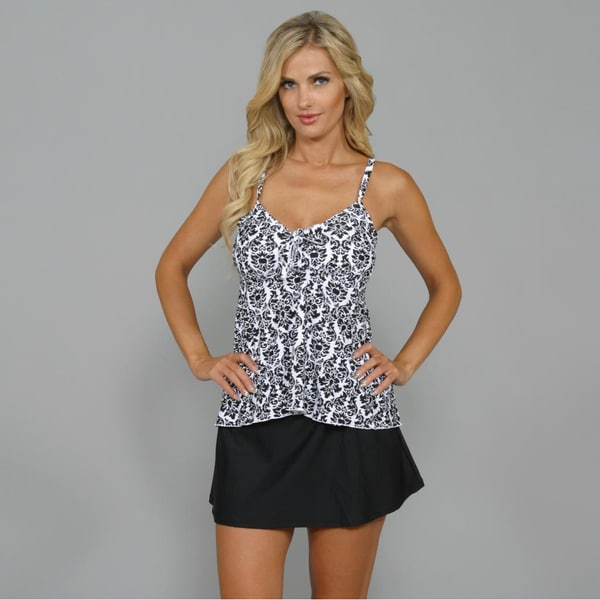 Island World Women's Black/ White Damask Swing Tankini 2-piece