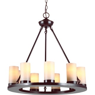 'Ellington' Burnt Sienna 9-Light Single Tier Pillar Chandelier
