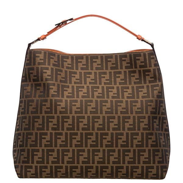 Fendi Zucca Jacquard Canvas Orange Leather Hobo Bag