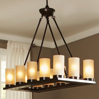 'Ellington' Burnt Sienna 12-Light Single Tier Pillar Chandelier