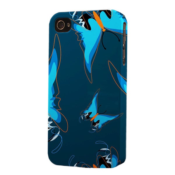 Plastic Blue Butterfly Dimensional Apple iPhone Case