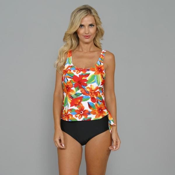 Island World Women's Tropical Floral 1-piece Swimsuit