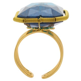 NEXTE Jewelry Goldtone Lagoon Blue Crystal Open Back Ring