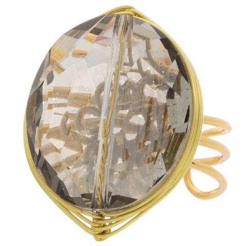 NEXTE Jewelry Goldtone Smokey Crystal Open Back Ring