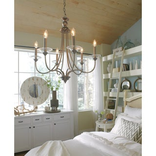 sea gull lighting lemont 6light antique brushed nickel singletier chandelier - Sea Gull Lighting