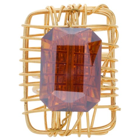 NEXTE Jewelry Goldtone Burnt Orange Crystal Open Back Ring