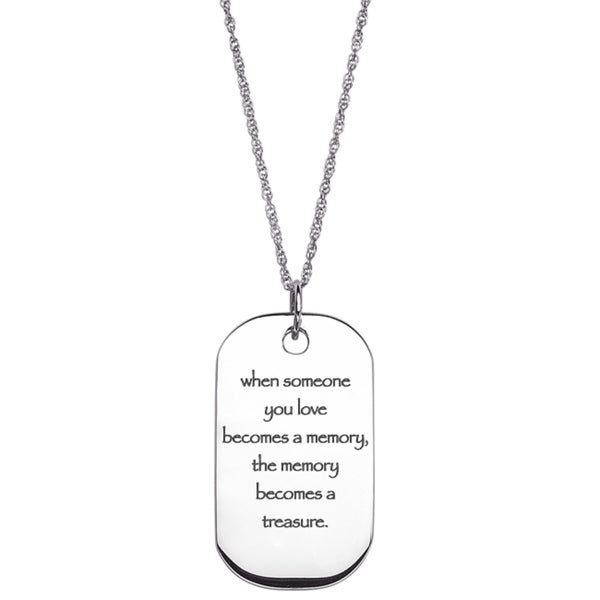 Sterling Silver Life Sentiment Tag Necklace