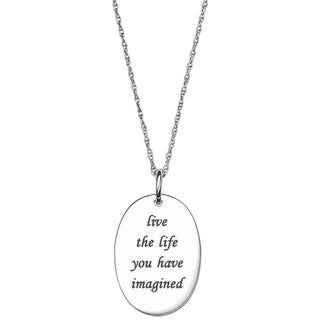 Sterling Silver Life Sentiment Oval Tag Necklace
