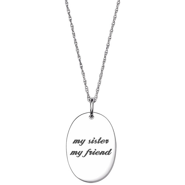 Sterling Silver Life Sentiment Oval Tag Necklace (my sist...