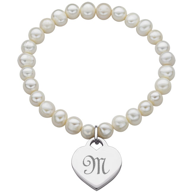 Platinum Overlay Freshwater Pearl Heart Initial Stretch B...
