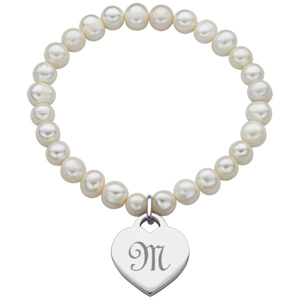 Platinum Overlay Freshwater Pearl Heart Initial Stretch Bracelet (7-8.5 mm)