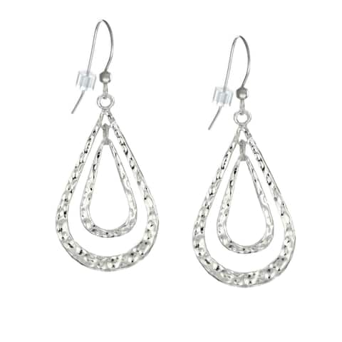 Handmade Jewelry by Dawn Double Teardrop Hammered Pewter Earrings (USA) - Silver