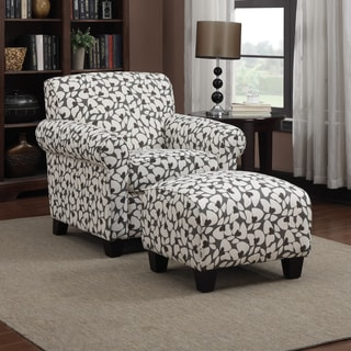 Handy Living Mira Gray Modern Floral Arm Chair and Ottoman