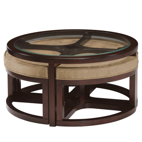 Juniper mink brown wood round cocktail table and 4 piece for Round cocktail table with stools