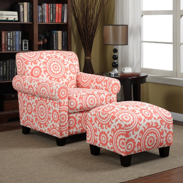 Shop Handy Living Mira Orange Coral Medallion Arm Chair and Ottoman ...
